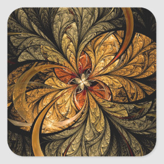 Shining Leaves Fractal Art Square Sticker