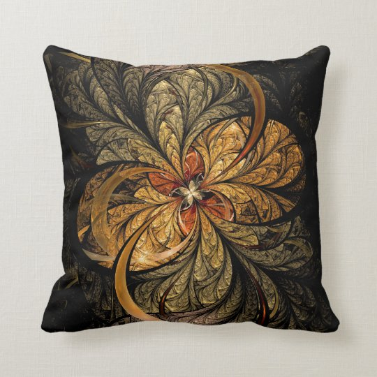 Shining Leaves Fractal Art Throw Pillow