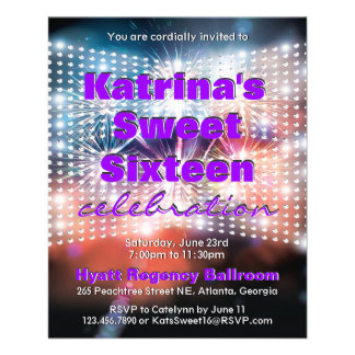 """Shining Lights and Fireworks Sweet Sixteen Invite 4.5"""" X 5.6"""" Flyer"""