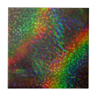 Shining Lights Holographic Glitter Rainbows Small Square Tile