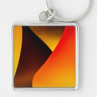 Shining Murano Glass Silver-Colored Square Keychain