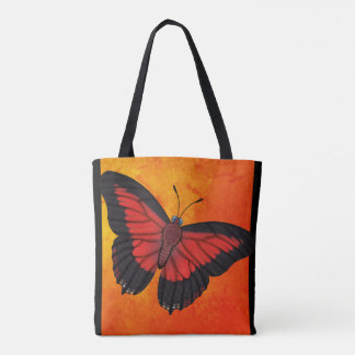 Shining Red Charaxes Butterfly Tote Bag