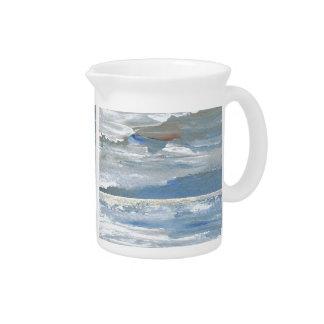 Shining Sea - Ocean Art Sea Waves Paintings Beverage Pitcher