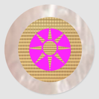 Shining Silver and Goldstar Classic Round Sticker