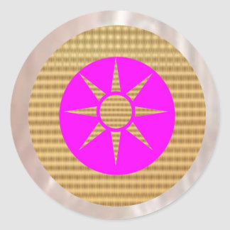 Shining Silver and Goldstar on Pink Classic Round Sticker