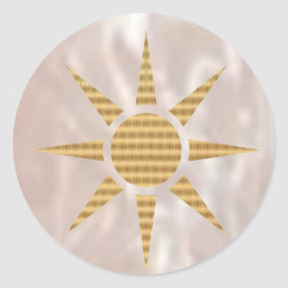 Shining Silver base and Goldstar Classic Round Sticker
