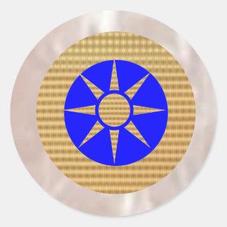 Shining Silver Gold n Dark Blue Decoration Classic Round Sticker