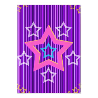 Shining  Silver Stars on hollistic Blue Pattern 5x7 Paper Invitation Card
