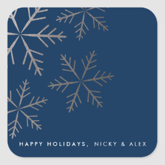 Shining snowflake faux foil winter holiday sticker