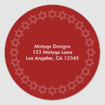 Shining Star Bar/Bat Mitzvah Address Labels Classic Round Sticker