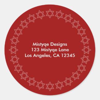 Shining Star Bar/Bat Mitzvah Address Labels Classic Round Sticker