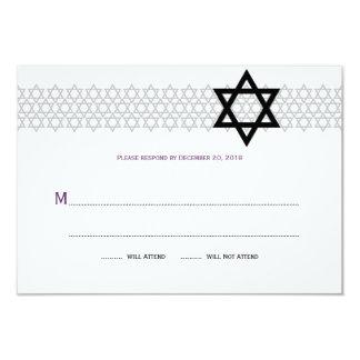 Shining Star Bar Mitzvah RSVP in Purple 3.5x5 Paper Invitation Card