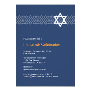 Shining Star Hanukkah Party Invitation at Zazzle