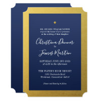 Shining Star Navy Gold Ticket Wedding Invitation