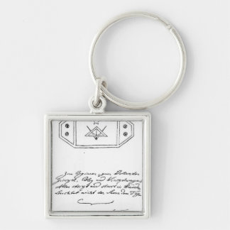 Shining star over square and Compass and lead Keychain