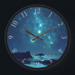 "Shining Stars at Night in Snowy North Large Clock<br><div class=""desc"">Scenic image of the icy north as seen at night.  Shining stars and celestial forms can be seen twinkling overhead. They brighten the rocky terrain down below. Dark blue shadows are cast on the rocks and ice in the distance.</div>"