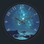 """Shining Stars at Night in Snowy North Large Clock<br><div class=""""desc"""">Scenic image of the icy north as seen at night.  Shining stars and celestial forms can be seen twinkling overhead. They brighten the rocky terrain down below. Dark blue shadows are cast on the rocks and ice in the distance.</div>"""