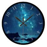 Shining Stars at Night in Snowy North Large Clock