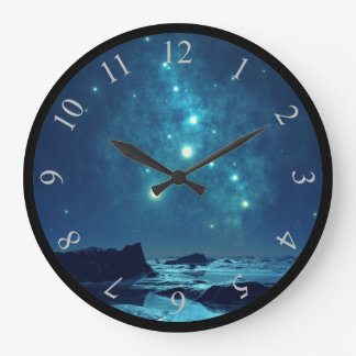 Shining Stars at Night in Snowy North Large Clock