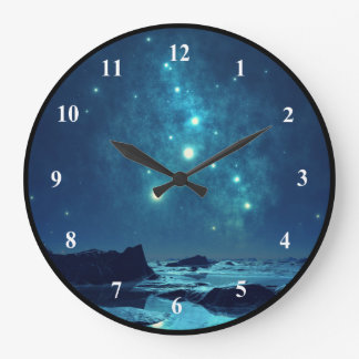 Shining Stars in the Snowy North Landscape Large Clock