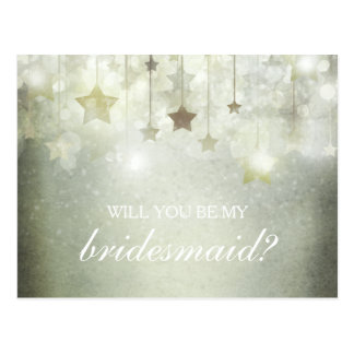 Shining Stars Will You Be My Bridesmaid Postcard