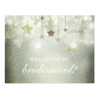 Shining Stars Will You Be My Bridesmaid Postcard