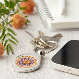 Shining Through Mixed Media Mosaic Silver-Colored Swirl Metal Keychain