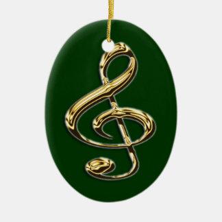 Shining Treble Clef Music Ornament