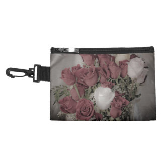 Shining white rose clip-on accessory bag