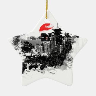 shinjuku abstracto Japón Tokio Adorno De Cerámica En Forma De Estrella