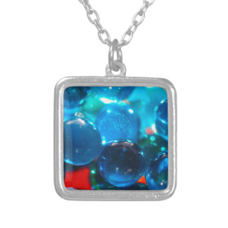 Shinning blue glass beads square pendant necklace