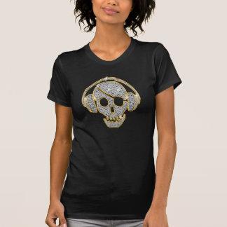 Shinning White Diamond and gold line Effect Skull T-Shirt