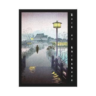 Shinobazu japonés oriental fresco de la lluvia de  impresión en lienzo estirada