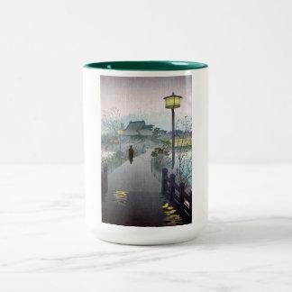 Shinobazu japonés oriental fresco de la lluvia de taza de café de dos colores