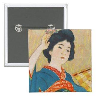 Shinsui Ito Maiko japanese vintage geisha portrait Pinback Buttons