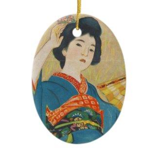 Shinsui Ito Maiko japanese vintage geisha portrait Christmas Ornament
