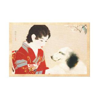 Shinsui Ito Shufu No Tomo Pet Dog japanese lady Stretched Canvas Prints