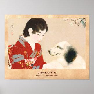 Shinsui Ito Shufu No Tomo Pet Dog japanese lady Posters