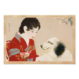 Shinsui Ito Shufu No Tomo Pet Dog japanese lady Poster