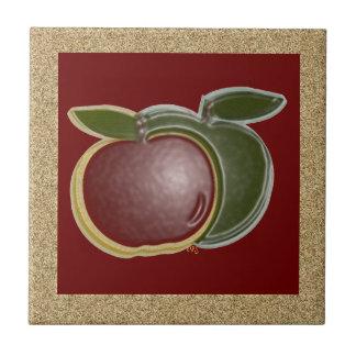 Shiny Apples 3D (gold/cranberry) Ceramic Tile