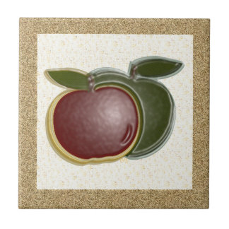 Shiny Apples 3D (textured/specks) Ceramic Tiles