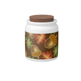 Shiny autumn atmosphere with acorns and oak leaf candy jars