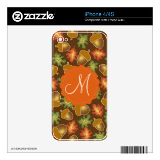 Shiny autumn atmosphere with acorns and oak leaf decal for iPhone 4