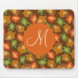 Shiny autumn atmosphere with acorns and oak leaf mouse pad
