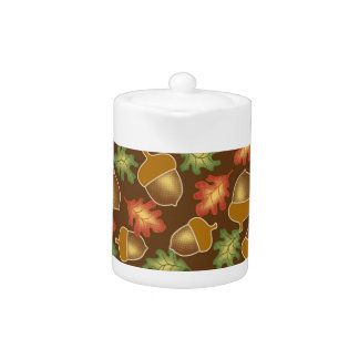 Shiny autumn atmosphere with acorns and oak leaf teapot