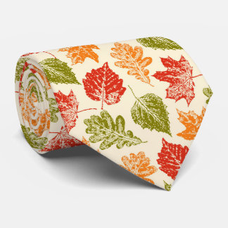 Shiny autumn atmosphere with fall leaves neck tie