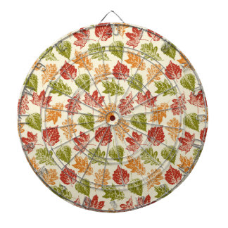 Shiny autumn atmosphere with fall leaves on cream dart board