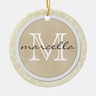 shiny big dots cream background monogram ceramic ornament