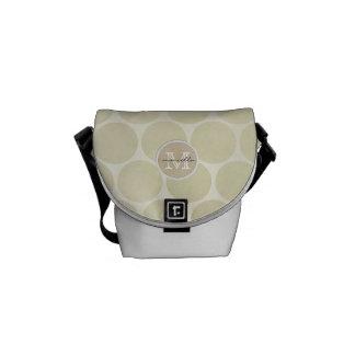 shiny big dots cream background monogram courier bag