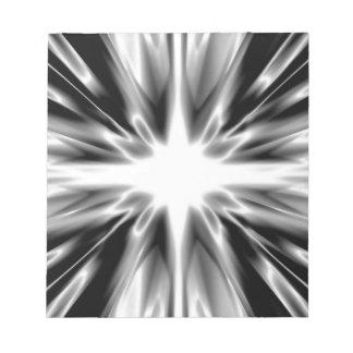 Shiny black and white star notepad